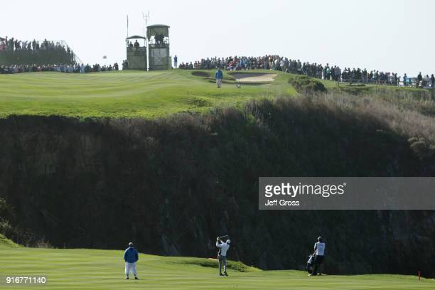 Jordan Spieth plays his shot on the sixth hole during Round Three of the ATT Pebble Beach ProAm at Pebble Beach Golf Links on February 10 2018 in...
