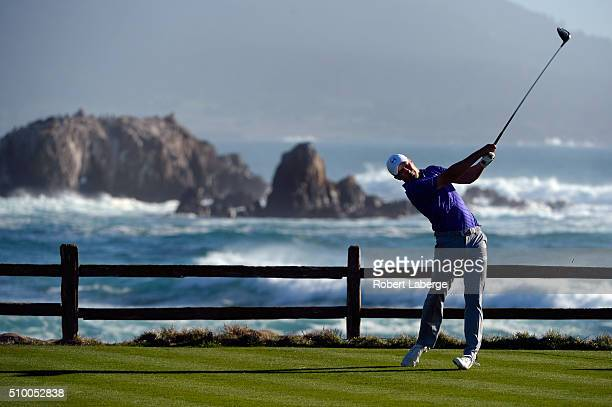 Jordan Spieth plays his tee shot on the 18th hole during round three of the ATT Pebble Beach National ProAm at the Pebble Beach Golf Links on...