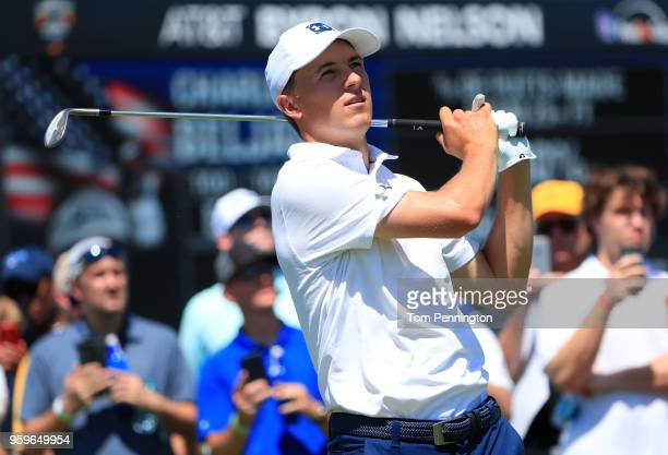 Jordan Spieth plays his tee shot on the eighth hole during the first round of the AT&T Byron Nelson at Trinity Forest Golf Club on May 17, 2018 in...
