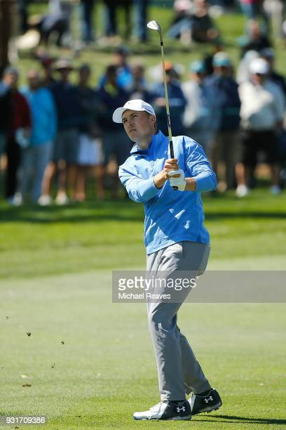 Jordan Spieth plays his third shot on the fifth hole during the first round of the Valspar Championship at Innisbrook Resort Copperhead Course on...