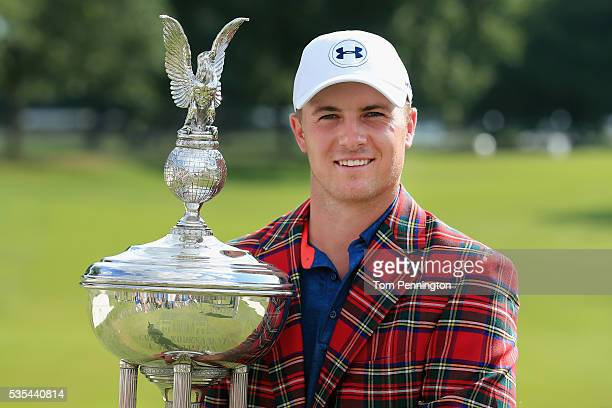 Jordan Spieth poses with the trophy after winning the DEAN DELUCA Invitational at Colonial Country Club on May 29 2016 in Fort Worth Texas