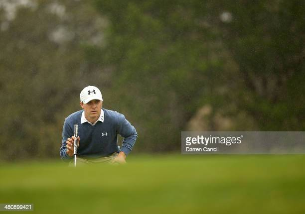 Jordan Spieth prepares to putt on the 11th during Round One of the Valero Texas Open at the ATT Oaks Course on March 27 2014 in San Antonio Texas