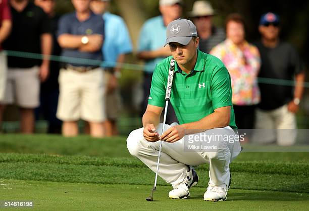 Jordan Spieth prepares to putt on the tenth green during the first round of the Valspar Championship at Innisbrook Resort Copperhead Course on March...