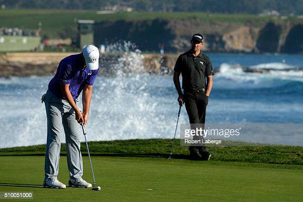 Jordan Spieth putts on the 18th green during round three of the ATT Pebble Beach National ProAm at the Pebble Beach Golf Links on February 13 2016 in...
