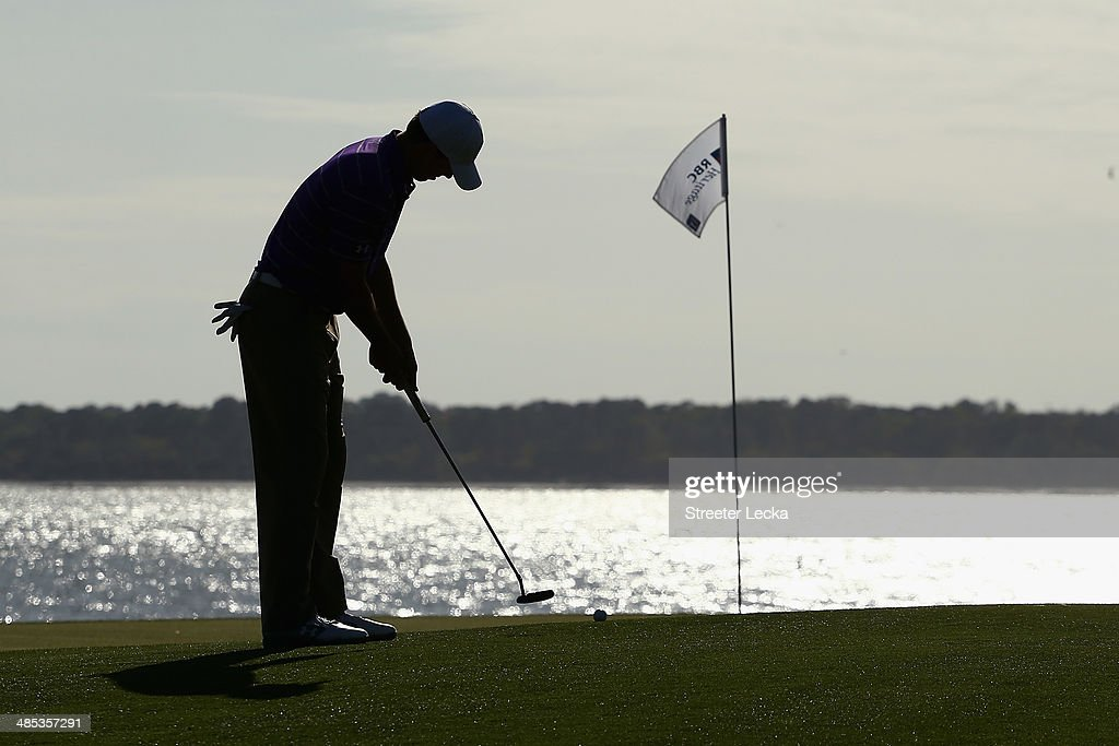 Jordan Spieth putts on the 18th green during the first round of the RBC Heritage at Harbour Town Golf Links on April 17, 2014 in Hilton Head Island, South Carolina.