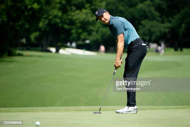 Jordan Spieth putts on the fifth hole during the third round of the Charles Schwab Challenge at Colonial Country Club on May 29, 2021 in Fort Worth,...