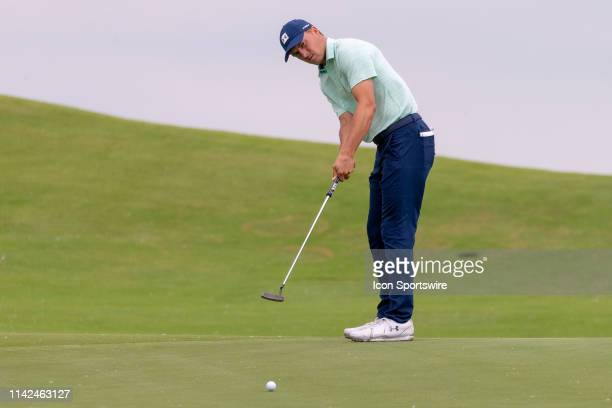 Jordan Spieth putts on the ninth green during the first round of the ATT Byron Nelson on May 9 2019 at Trinity Forest Golf Club in Dallas TX