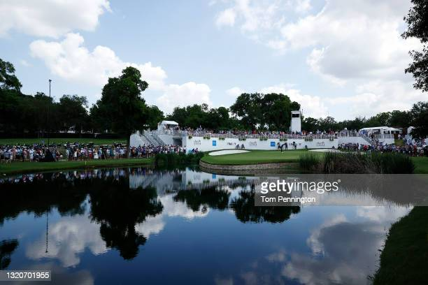 Jordan Spieth putts on the ninth hole green during the third round of the Charles Schwab Challenge at Colonial Country Club on May 29, 2021 in Fort...