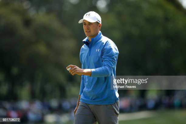 Jordan Spieth reacts after a putt on the second green during the first round of the Valspar Championship at Innisbrook Resort Copperhead Course on...