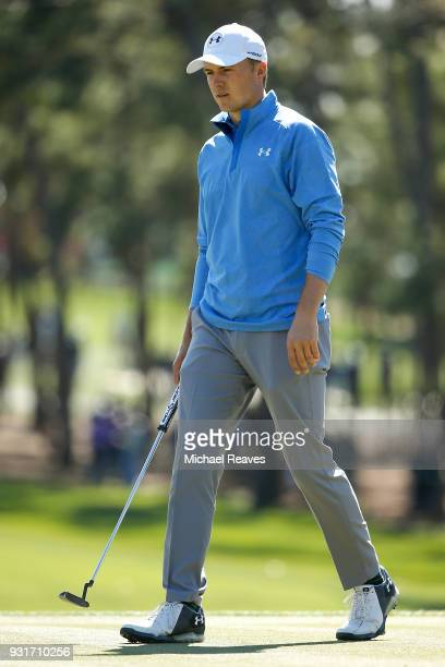 Jordan Spieth reacts after a putt on the sixth green during the first round of the Valspar Championship at Innisbrook Resort Copperhead Course on...