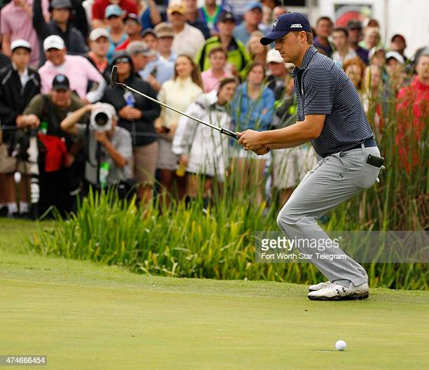 Jordan Spieth reacts after his putt misses on the ninth green during the Crowne Plaza Invitational at Colonial on Sunday, May 24 in Fort Worth, Texas.