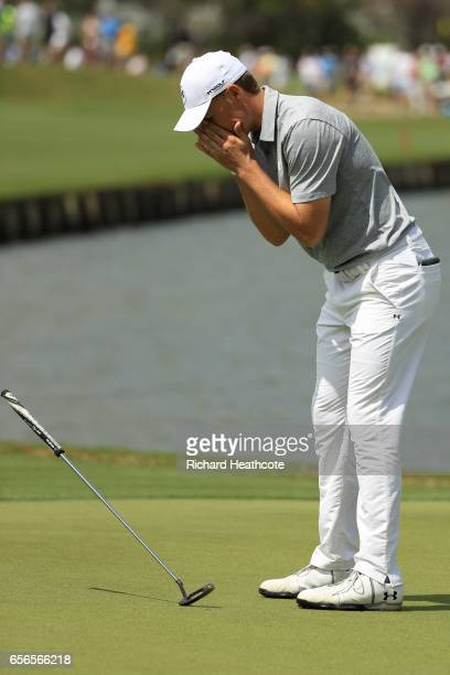 Jordan Spieth reacts after missing a putt on 13th hole of his match during round one of the World Golf ChampionshipsDell Technologies Match Play at...