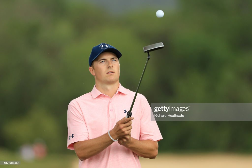 Jordan Spieth reacts after putting on the 15th hole of his match during round three of the World Golf Championships-Dell Technologies Match Play at the Austin Country Club on March 24, 2017 in Austin, Texas.