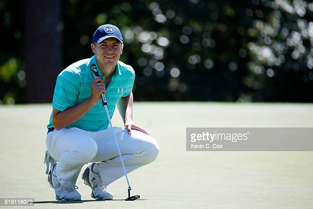 Jordan Spieth reacts during a practice round prior to the start of the 2016 Masters Tournament at Augusta National Golf Club on April 4 2016 in...