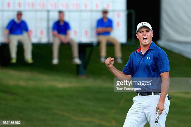 Jordan Spieth reacts on the 16th green during the Final Round of the DEAN DELUCA Invitational at Colonial Country Club on May 29 2016 in Fort Worth...