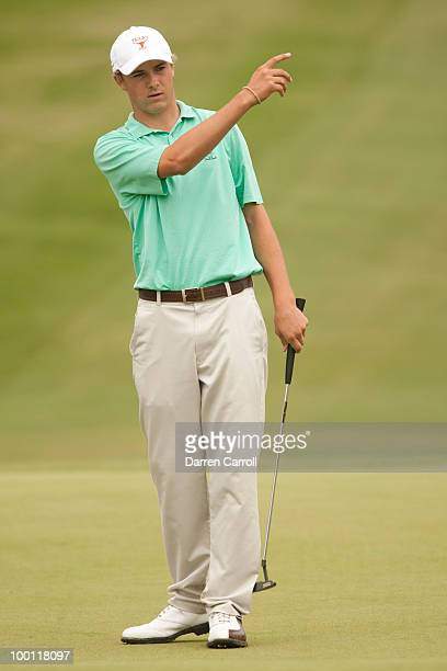 Jordan Spieth reacts to a missed putt during the second round of the HP Byron Nelson Championship at TPC Four Seasons Resort Las Colinas on May 21,...