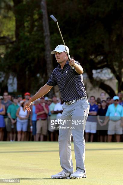 Jordan Spieth reacts to his putt on the third playoff hole during the final round of the Valspar Championship at Innisbrook Resort Copperhead Course...
