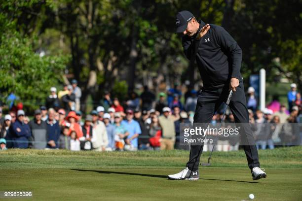 Jordan Spieth reacts to missing a putt on the 16th hole during the second round of the Valspar Championship at Innisbrook Resort on March 9 2018 in...