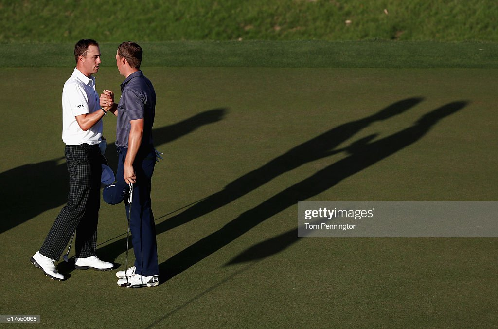 Jordan Spieth shakes hands with Justin Thomas after Spieth won their match 3&2 during the third round of the World Golf Championships-Dell Match Play at the Austin Country Club on March 25, 2016 in Austin, Texas.