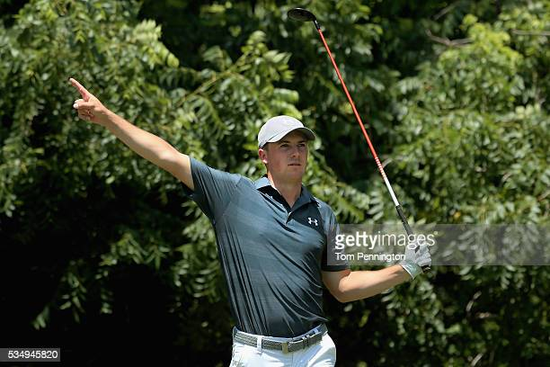 Jordan Spieth signals right after his tee shot on the sixth hole during the Third Round of the DEAN DELUCA Invitational at Colonial Country Club on...