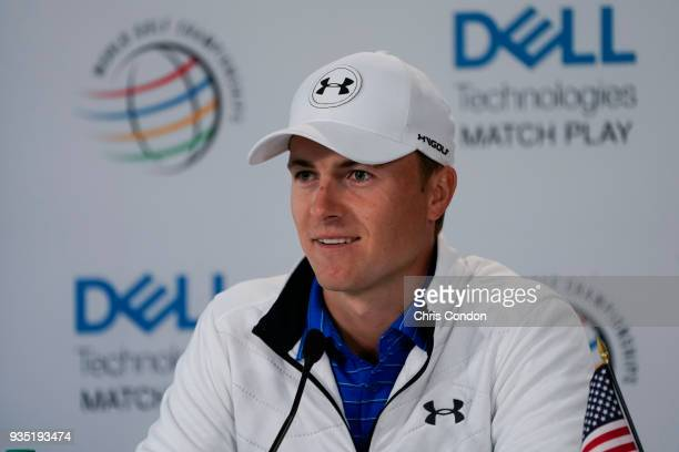 Jordan Spieth speaks to the media prior to the World Golf ChampionshipsDell Technologies Match Play at Austin Country Club on March 20 2018 in Austin...