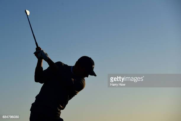 Jordan Spieth takes a practice swing on the 17th hole during Round Three of the ATT Pebble Beach ProAm at Pebble Beach Golf Links on February 11 2017...