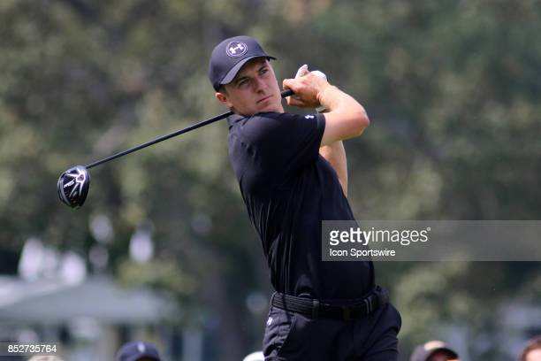Jordan Spieth tees off during the third round of the PGA Tour Championship on September 23 2017 at East Lake Golf Club in Atlanta Georgia
