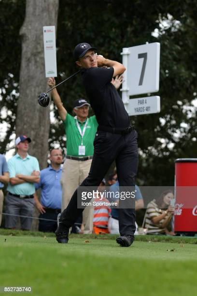 Jordan Spieth tees off on the 10th hole during the third round of the PGA Tour Championship on September 23 2017 at East Lake Golf Club in Atlanta...