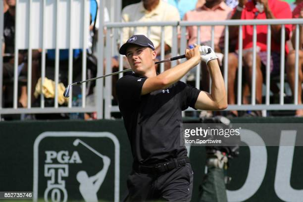 Jordan Spieth tees off on the 9th hole during the third round of the PGA Tour Championship on September 23 2017 at East Lake Golf Club in Atlanta...