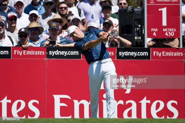 Jordan Spieth tees off on the first hole at the final round of the 102nd Australian Open Golf Championship at The Australian Golf Club in Sydney on...