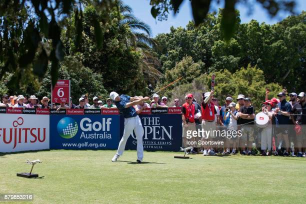 Jordan Spieth tees off on the sixth hole at the final round of the 102nd Australian Open Golf Championship at The Australian Golf Club in Sydney on...