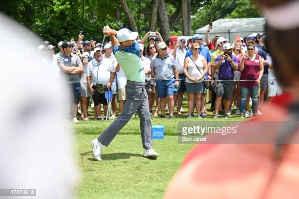 Jordan Spieth tees off on the sixth tee during the final round of the Charles Schwab Challenge at Colonial Country Club on May 26 2019 in Fort Worth...