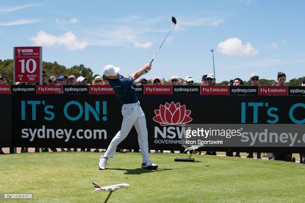 Jordan Spieth tees off on the tenth hole at the final round of the 102nd Australian Open Golf Championship at The Australian Golf Club in Sydney on...