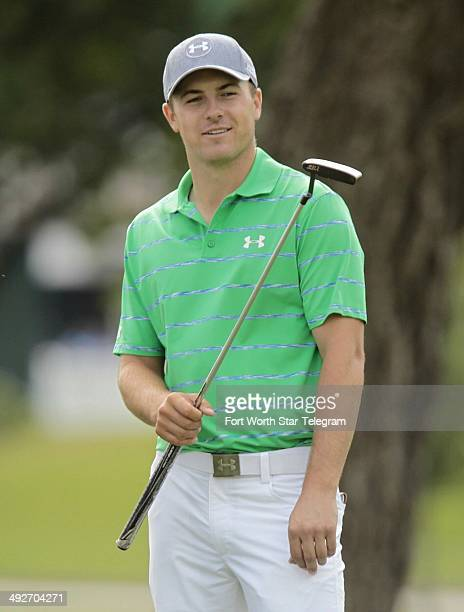 Jordan Spieth waits on the 10th fairway during a practice round for the Crowne Plaza Invitational at Colonial in Fort Worth, Texas, on Wednesday, May...