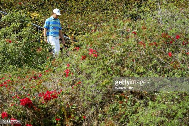Jordan Spieth walks through the scenery during the ProAm of the Genesis Open at the Riviera Country Club on February 14 2018 in Pacific Palisades...