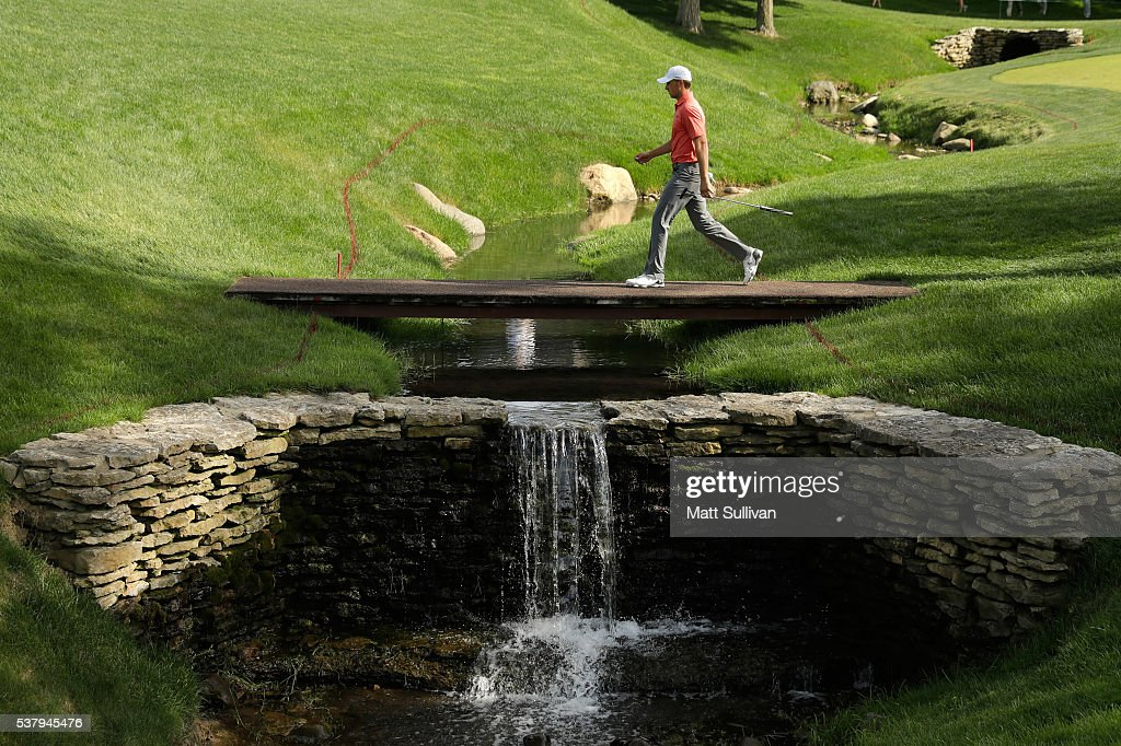 Jordan Spieth walks to the green on the 17th hole during the second round of The Memorial Tournament at Muirfield Village Golf Club on June 3, 2016 in Dublin, Ohio.