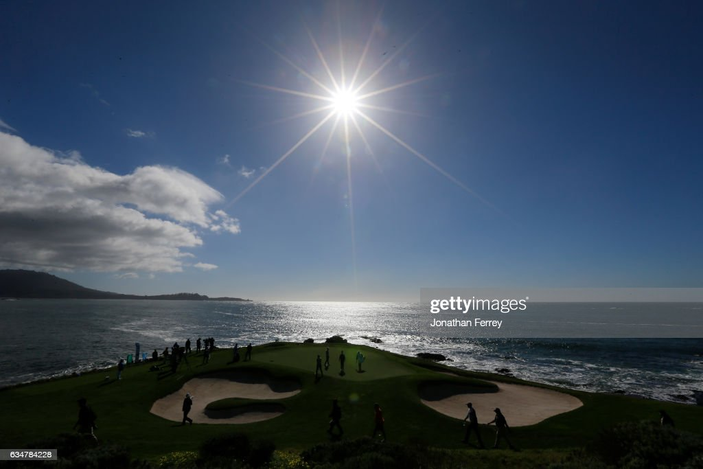 Jordan Spieth walks to the seventh green during Round Three of the AT&T Pebble Beach Pro-Am at Pebble Beach Golf Links on February 11, 2017 in Pebble Beach, California.