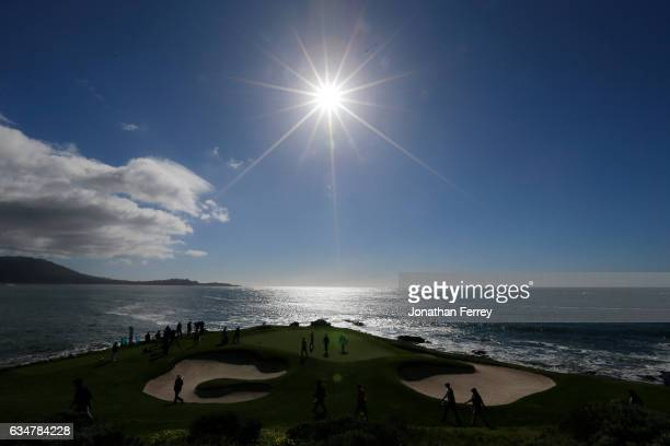 Jordan Spieth walks to the seventh green during Round Three of the ATT Pebble Beach ProAm at Pebble Beach Golf Links on February 11 2017 in Pebble...