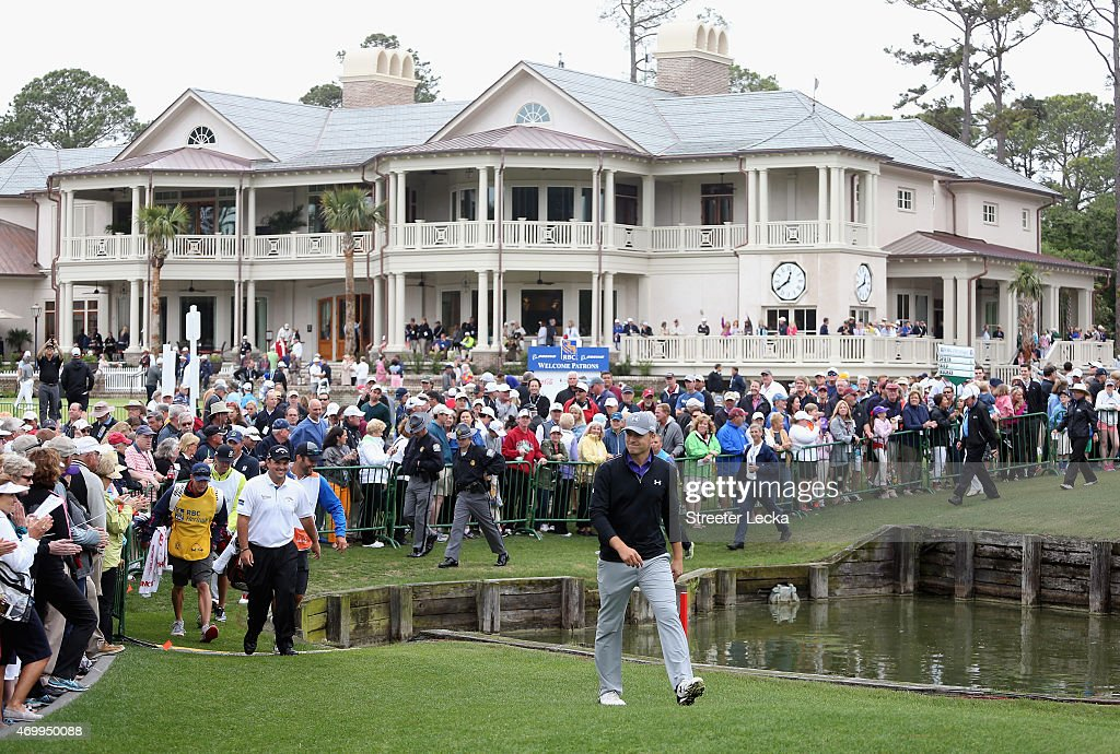 Jordan Spieth walks to the tee on the first hole during the first round of the RBC Heritage at Harbour Town Golf Links on April 16, 2015 in Hilton Head Island, South Carolina.