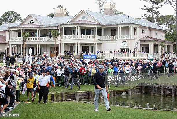 Jordan Spieth walks to the tee on the first hole during the first round of the RBC Heritage at Harbour Town Golf Links on April 16 2015 in Hilton...