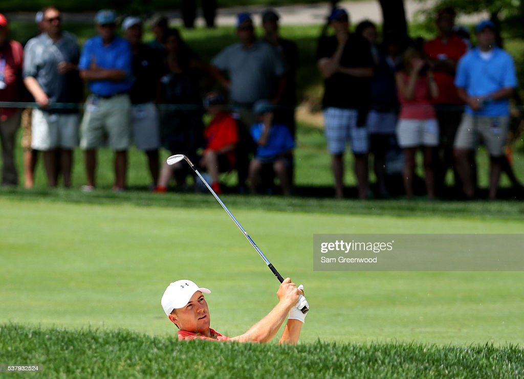 Jordan Spieth watches his second shot on the first hole during the second round of The Memorial Tournament at Muirfield Village Golf Club on June 3, 2016 in Dublin, Ohio.