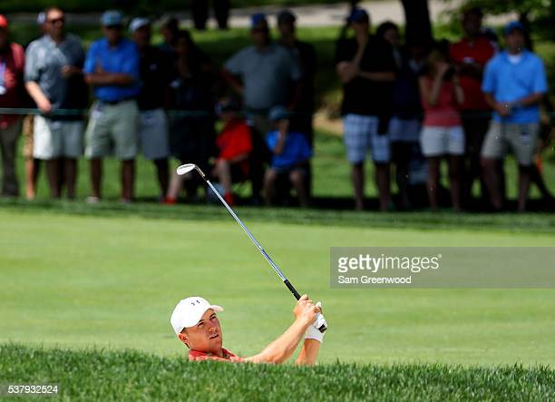 Jordan Spieth watches his second shot on the first hole during the second round of The Memorial Tournament at Muirfield Village Golf Club on June 3...