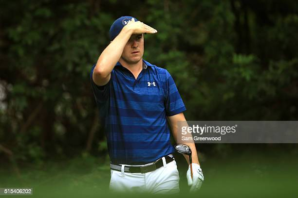 Jordan Spieth watches his shot off the third tee during the final round of the Valspar Championship at Innisbrook Resort Copperhead Course on March...