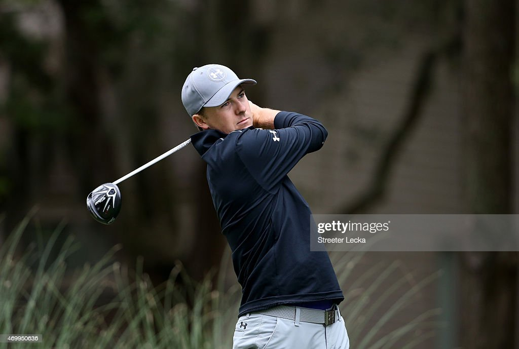 Jordan Spieth watches his tee shot on the second hole during the first round of the RBC Heritage at Harbour Town Golf Links on April 16, 2015 in Hilton Head Island, South Carolina.