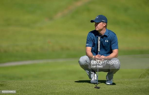 Jordan Spieth watches play on the third hole during the ProAm at the Genesis Open at Riviera Country Club on February 15 2017 in Pacific Palisades...