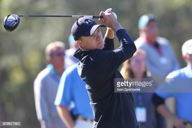 Jordan Spieth watches the flight of his tee shot during the first round of the Valspar Championship on March 09 at Westin InnisbrookCopperhead Course...
