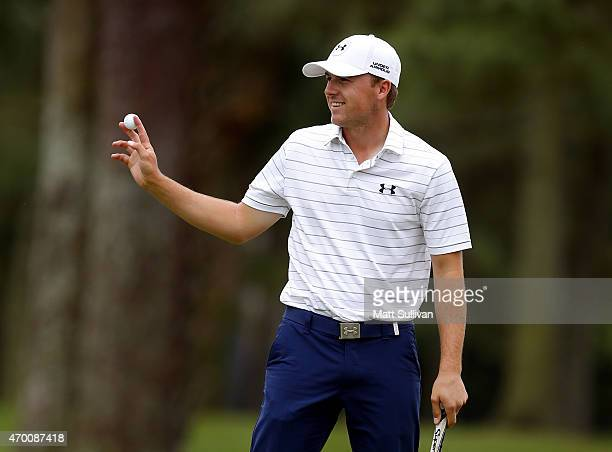 Jordan Spieth waves to the gallery after making a birdie on the ninth hole during the second round of the RBC Heritage at Harbour Town Golf Links on...