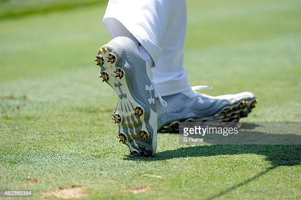 Jordan Spieth wears Under Armour shoes on the eighth hole during the final round of the Quicken Loans National at Congressional Country Club on June...
