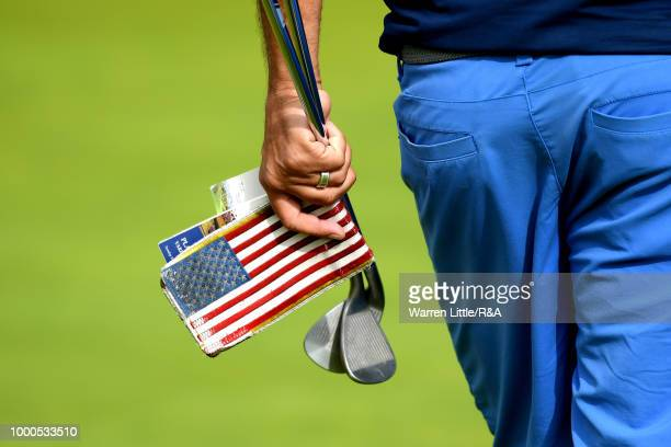 Jordan Spieth's caddie seen during previews to the 147th Open Championship at Carnoustie Golf Club on July 17 2018 in Carnoustie Scotland