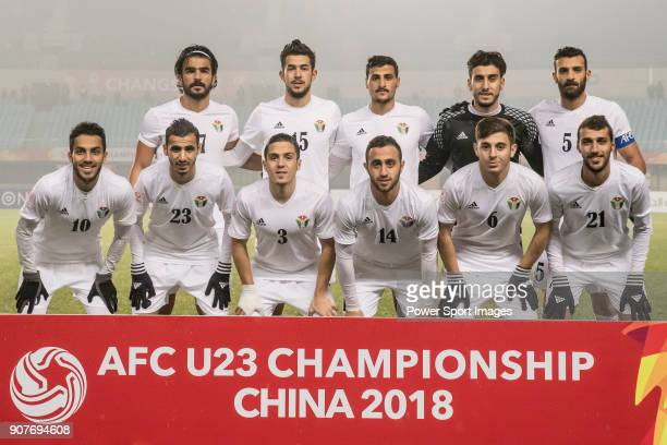 Jordan squad poses for photos prior to the AFC U23 Championship China 2018 Group C match between Iraq and Jordan at Changshu Sports Center on 16...
